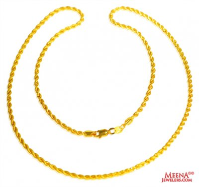 22 Kt Hollow Rope Chain (26 Inches) ( Plain Gold Chains )