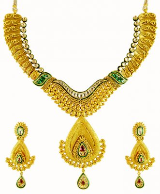 22K Kundan Necklace Set ( Antique Necklace Sets )