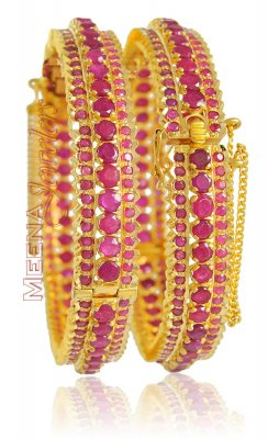 22Kt Gold Bangles With Ruby (1 Pc Only) ( Precious Stone Bangles )