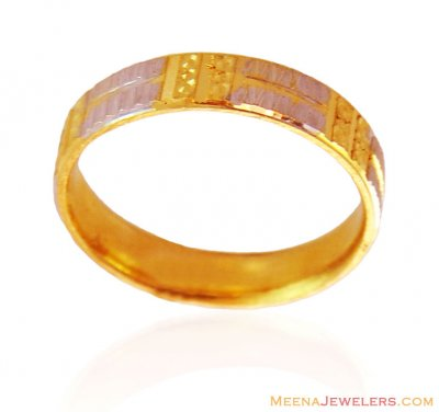 Fancy Two Tone 22K Gold Band ( Wedding Bands )
