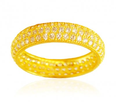 22Kt Gold Cubic Zircon Band ( Ladies Signity Rings )