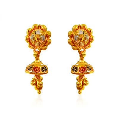 22KT Gold Tri colour Earrings ( 22 Kt Gold Tops )