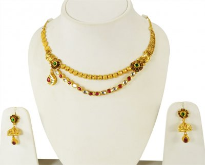 22K Gold Antique Layered Set ( Antique Necklace Sets )