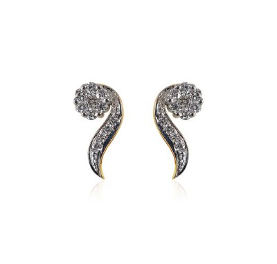 18K Gold Diamond Earring for Ladies ( Diamond Earrings )