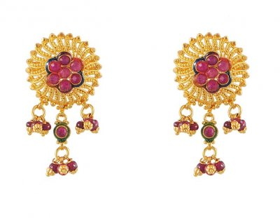 Gold Tops with Ruby ( Precious Stone Earrings )