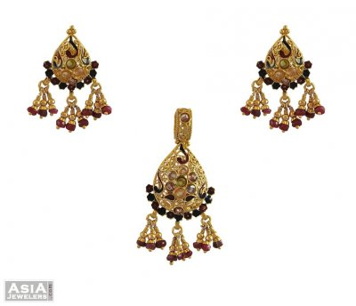 22k Gold Meenakari Pendant Set ( Antique Pendant Sets )