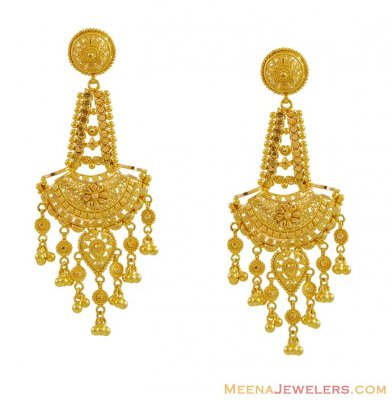 22K Yellow Gold Filigree Earrings ( Long Earrings )
