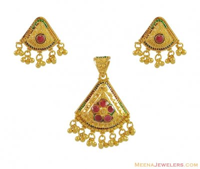 22K Indian Gold Pendant Set ( Gold Pendant Sets )