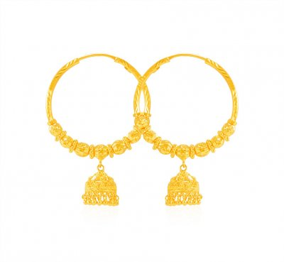 22K Yellow Gold Hoop (Earrings) ( Hoop Earrings )