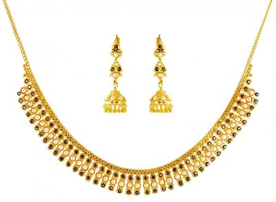 22 kt Gold Pearls Necklace Set ( Light Sets )