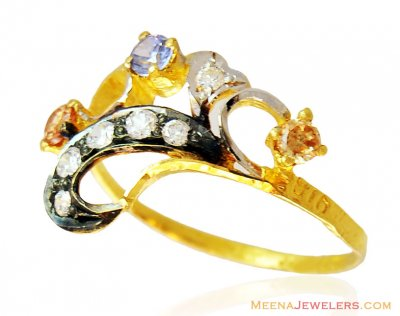 Colored Stones Gold Ring 22k  ( Ladies Signity Rings )