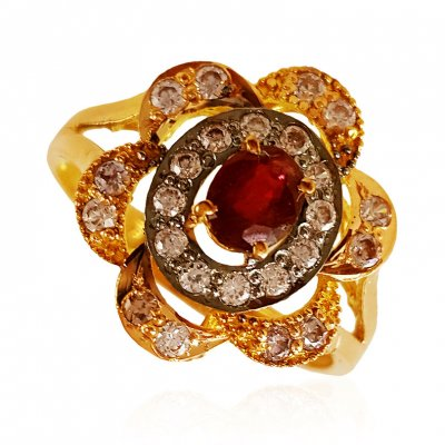22k Gold Ruby Ring ( Ladies Rings with Precious Stones )