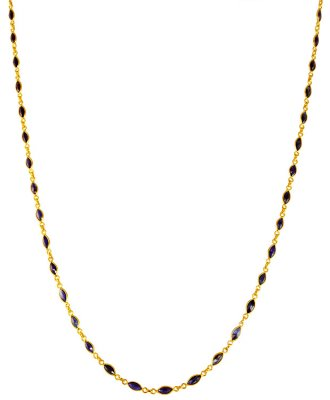 22 Karat Gold Sapphire Mala ( 22Kt Gold Fancy Chains )