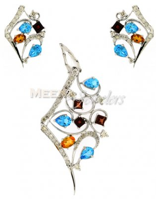 Colorful Diamond Pendant Set ( Diamond Pendant Sets )