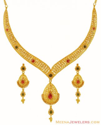 22k Gold Precious Stone Necklace  ( 22 Kt Gold Sets )
