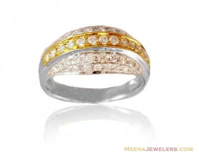 18K Fancy Two Tone Diamond Ring ( Diamond Rings )
