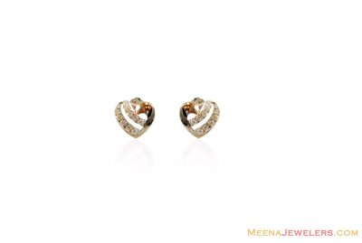 18Kt White Gold Heart Tops ( White Gold Earrings )