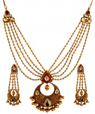 22kt Gold Layered Antique Set  ( Antique Necklace Sets )