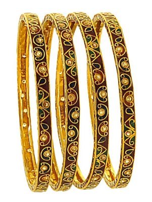22K Antique Bangle Set ( Antique Bangles )
