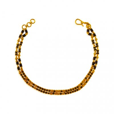 22 Kt Gold Black Beads Bracelet  ( Ladies Bracelets )