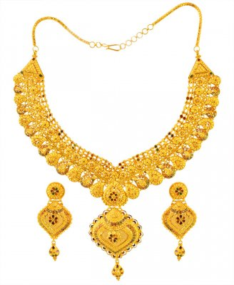 22K Gold Meenakari Necklace Set ( 22 Kt Gold Sets )