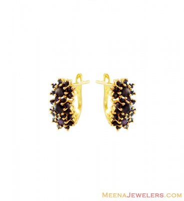 22K Indian Gold Sapphire Earring ( Precious Stone Earrings )