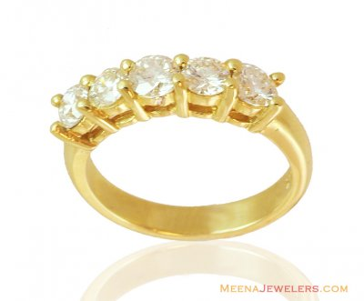 5 Stone Solitaire Band 18k Gold ( Diamond Rings )