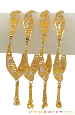 22K Gold Fancy Bangles ( Set of Bangles )
