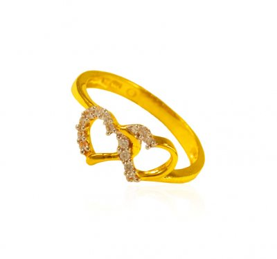 22k Gold Heart Shape Ring ( Ladies Signity Rings )
