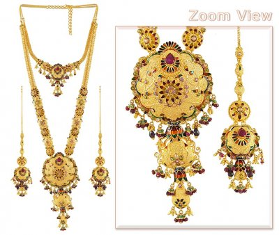 Gold Bridal Indian Necklace ( Bridal Necklace Sets )