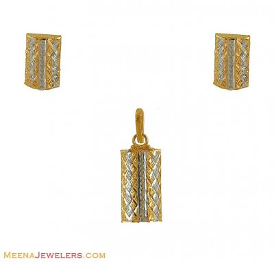 Gold Two Tone Fancy Pendant Set ( Fancy Pendant Set )