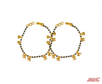 22Karat Gold Kids Mania (2pc) ( Black Bead Bracelets )