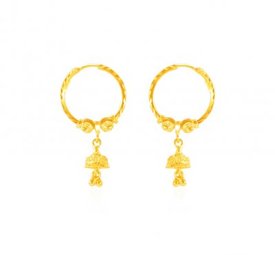 22karat Gold Designer Bali ( Hoop Earrings )
