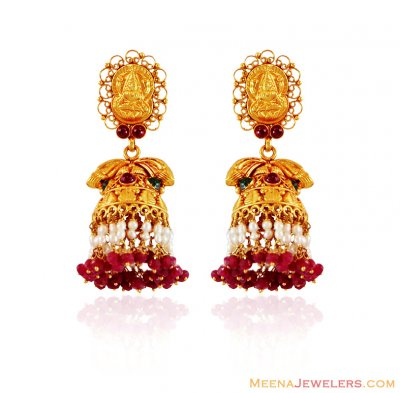 22K Gold Temple Jhumka ( 22Kt Gold Fancy Earrings )