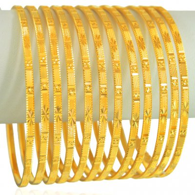 22k Gold Bangles Set (12 pcs) ( Set of Bangles )