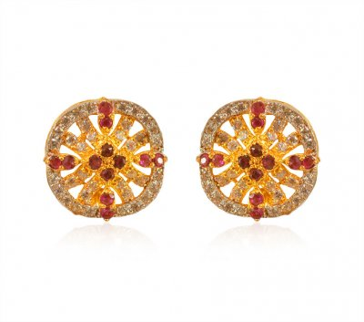 Gold CZ Earring 22K ( Precious Stone Earrings )