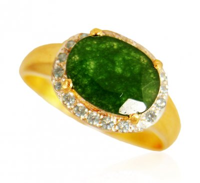 22k Gold  Emerald Ring ( Ladies Rings with Precious Stones )