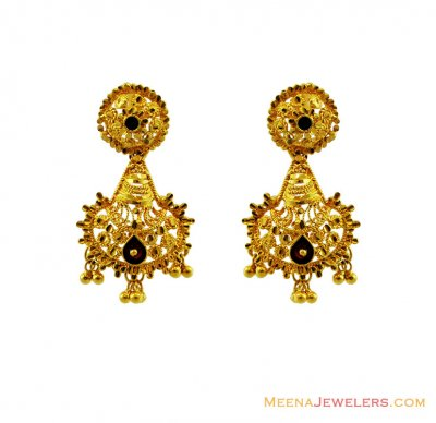 22K Gold Meenakari Earrings ( Long Earrings )