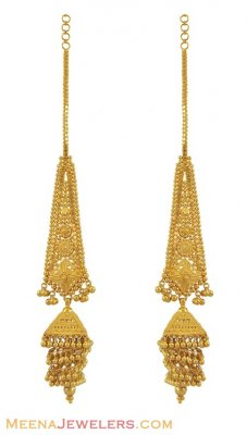 22k Filigree Jhumka Earrings ( Long Earrings )