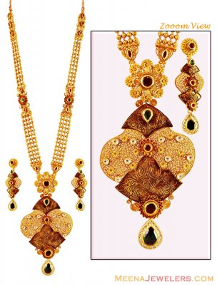 22k Gold Designer Kundan Set ( Bridal Necklace Sets )