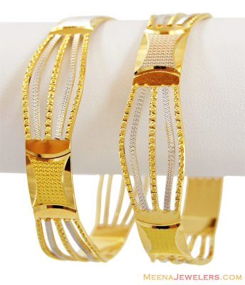 Two Tone Rhodium Bangles 22K (Pair) ( Two Tone Bangles )