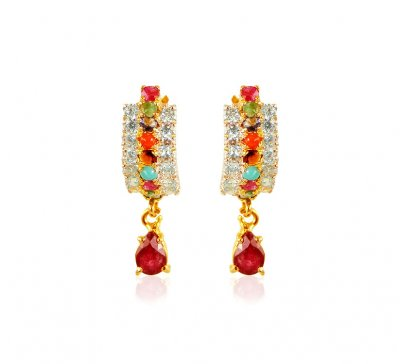 22kt Gold Precious Stone Earring ( Precious Stone Earrings )