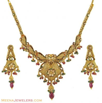 Antique Necklace Earring Set(22k) ( Antique Necklace Sets )