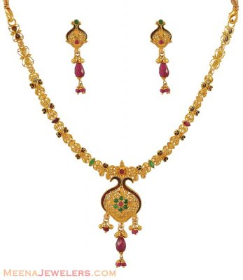 Gold small antique necklace set ( Antique Necklace Sets )