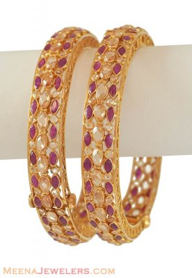 22K Gold Antique Ruby Bangle ( Antique Bangles )