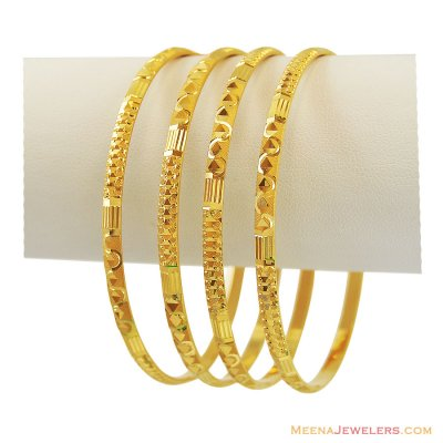 22K Gold Bangles (4 Pcs) ( Set of Bangles )