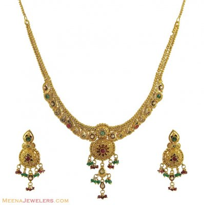 Antique Necklace Set (22K) ( Antique Necklace Sets )
