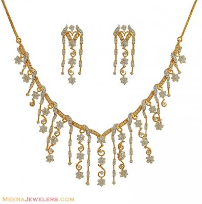 22K Gold Necklace Set (Exclusive) ( Precious Stone Sets )