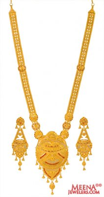 22kt Gold Long Necklace Earring Set ( Bridal Necklace Sets )