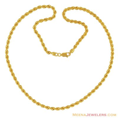 Hollow Rope Chain (18 Inches) ( Plain Gold Chains )